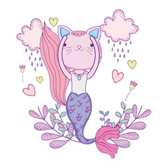 purrmaid with clouds and floral decoration