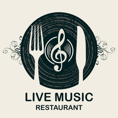 Vector menu or banner for restaurant with live music decorated with old vinyl record, treble clef and cutlery on light background in retro style