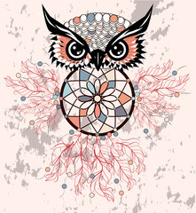 dream catcher with owl. boho style. totem animal