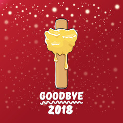 vector goodbye 2018 year funny concept illustration with melt ice cream isolated on red background with lights and stars. End of the year background or poster