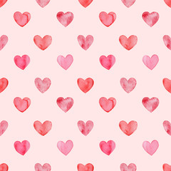 Valentines day, aquarelle illustration. Seamless pattern with bright hand painted watercolor hearts. Romantic decorative background for Valentine's day gift paper, wedding decor or fabric textile.