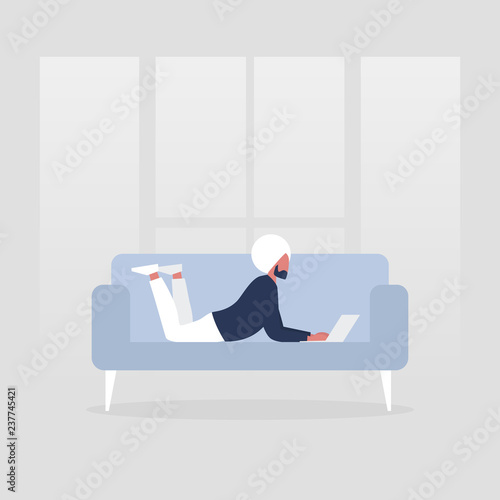 Young female manager lying on the sofa with the laptop. Modern office. Freelance. Daily routine. Millennial lifestyle. Flat editable vector illustration, ...