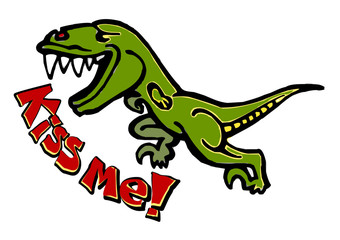 dinosaur velociraptor runs and scream kiss me