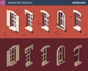 Various Isometric Windows Set. 3d Isometric illustration.