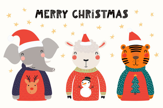 Hand drawn vector illustration of cute animals, elephant, sheep, tiger, in Santa hats, sweaters, with text. Isolated objects on white. Scandinavian style flat design. Concept Christmas card, invite.