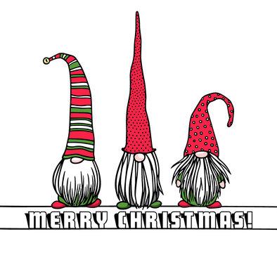 Hand drawn Christmas gnomes