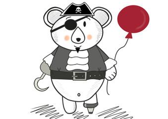 cute pirate bear with a balloon