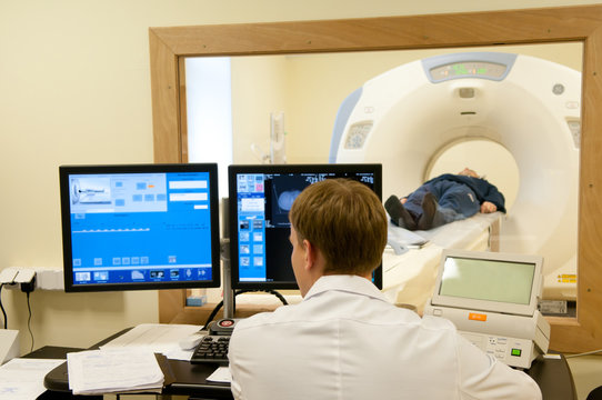 Doctor with CT scan