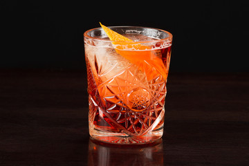 Alcohol cocktail collection - Negroni Americano with orange