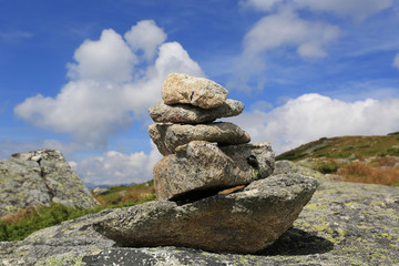 Balanced stones in mountains