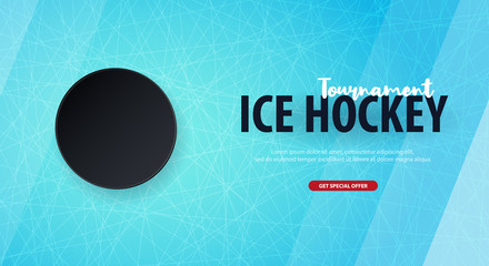 Hockey background with puck and doodle elements. Vector illustration.