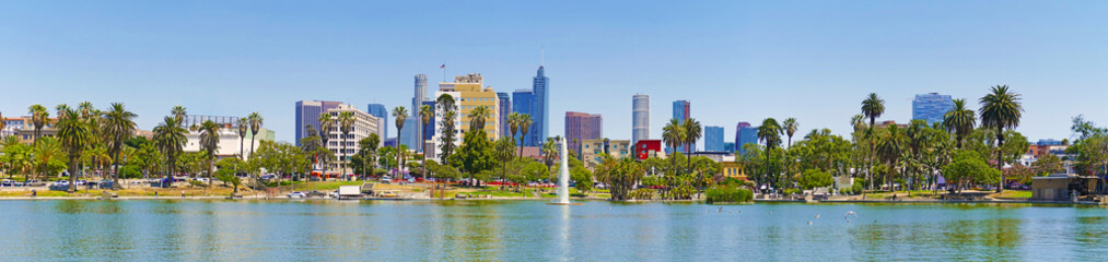 Panoramic landscape of the downtown of Los Angeles