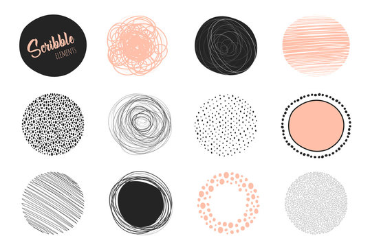 Set of hand drawn circles using sketch drawing scribble lines. Freehand drawing. Doodle circular elements. Vector illustration.