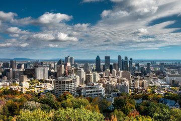Montreal skyline viewed from the Mount Royal Park. Quebec, Canada.