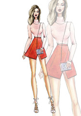 Street fashion. watercolor fashion illustration. art sketch of beautiful young woman in skirt
