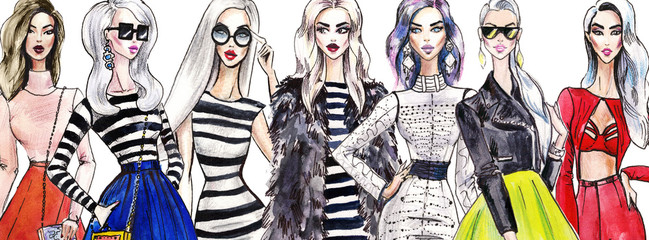 illustration fashionable girls. shopping. fashion. art sketch of beautiful young woman in dress