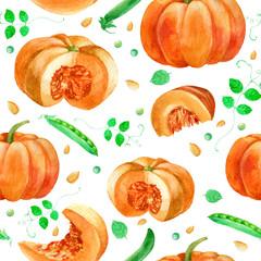 Watercolor illustration, pattern. Image of pumpkin, pea leaves.