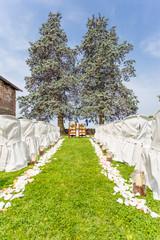 wedding ceremony outdoor in garden
