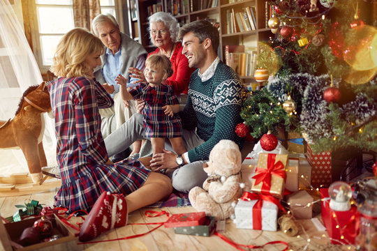 Christmas family portrait - family sitting on floor front of beautiful Christmas tree.