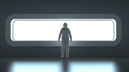 astronaut in front of a wide window