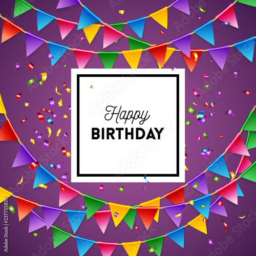 Vector Illustration Of Happy Birthday Greeting Card Fichier