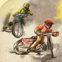 Speedway, motorcycle races - An hand drawn illustration
