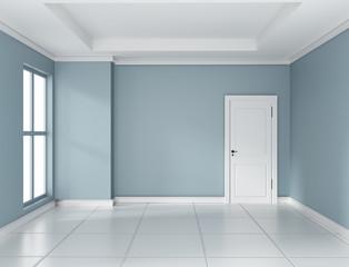 Empty mint room interior design 3d rendering