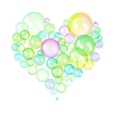 Abstract colorful heart made of bubbles for creative design