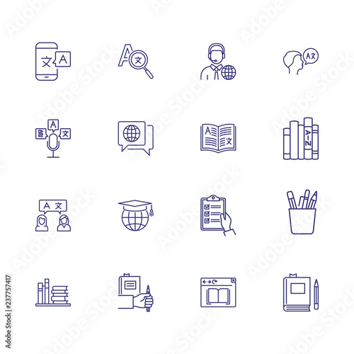 Translation icons  Set of line icons  Dictionary, online translator