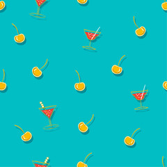 Bright Beautiful Seamless cocktail with summer fruit cherry pattern in vacation mood in hand sketch style on light blue backgroud