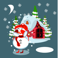 Winter village background with snow covered houses, pine forest and snowman in Santa hat