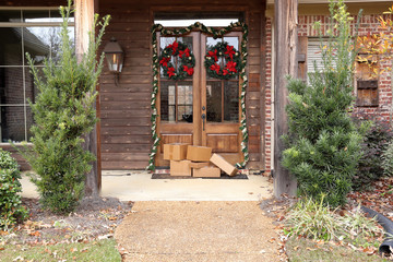 Packages on front porch during holiday and Christmas shopping season