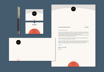 Stationery Set Layout with Circles