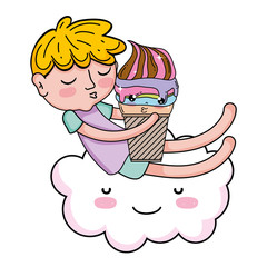 little boy with ice cream kawaii character