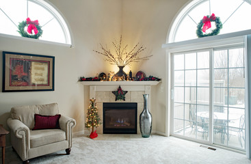 Christmas Corner Fireplace with Outdoor Winter Scene