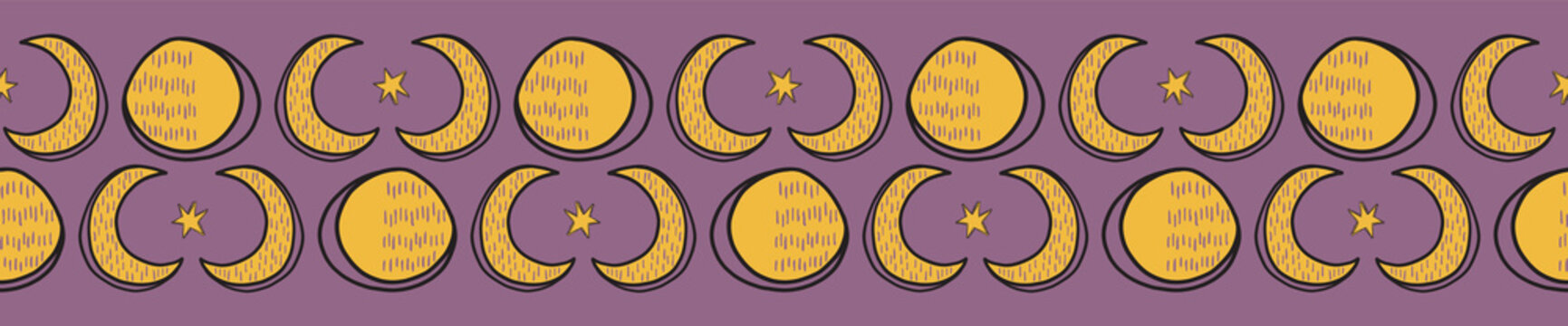 Sacred Lunar Moon Solstice Seamless Vector Border. Esoteric Spiritual Symbols Concept Illustration. Spiritual Astrology Meditation Background, For Boho Ritual Witchy Banner Backdrop. Yellow Purple