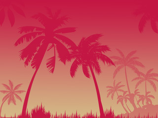 Fond de hotte en verre imprimé Rose banbon red silhouettes of palm trees on pink red background,several palm trees, place for inscription