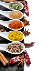 Top view on mixed dry colorful spices isolated on white background.