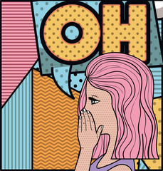 woman saying oh pop art style