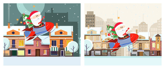 Winter city illustration design. Two illustration of Santa Claus sitting in space ship on background with winter city landscape. Can be used for postcards, invitations, greeting cards