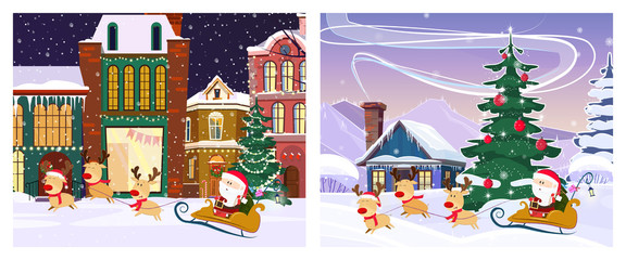 Winter fairy tale town poster design. Two illustrations of Santa in sleigh with deer on background with bright winter town and snowy village. Can be used for postcards, invitations, greeting cards
