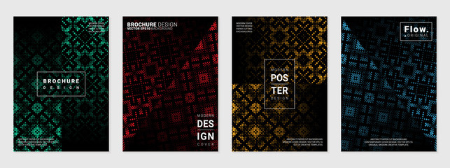 Vector set of cover design template with minimal geometric patterns; Mixed styles - ancient ethnic embroidery and digital pixel art; Modern different color gradient.