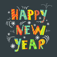 Happy New Year card with creative typography.