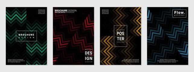 Vector set of cover design template with minimal geometric patterns; Pixel art; Modern different color gradient.