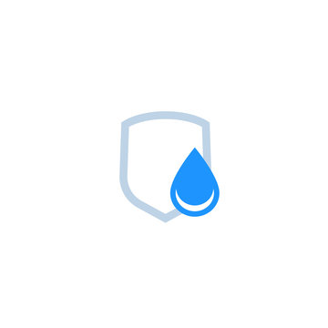 waterproof icon, water drop and shield