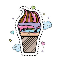 cute ice cream kawaii character