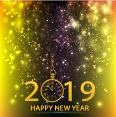 Happy New Year 2019 loading spark firework gold vector logo