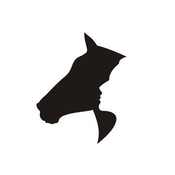 Силуэт коня и человека