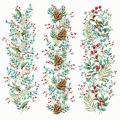 Floral ornament of flowers of beautiful shades. Pattern from leaves of different plants and berries of lingonberry or cranberry. Frame element. Isolated object.