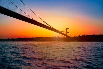 Bosphorus Bridge at sunset in Istanbul, Turkey